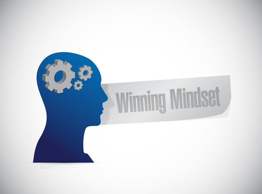 winning mindset thinking brain sign concept