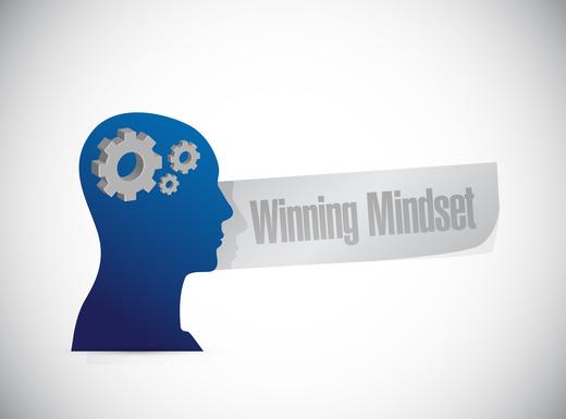 winning mindset thinking brain sign concept